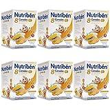 Nutribén Papillas, Desde Los 6 Meses, 8 Cereales Con Un Toque De Miel Y Galletas María, Pack De 6 unidades x 600 g