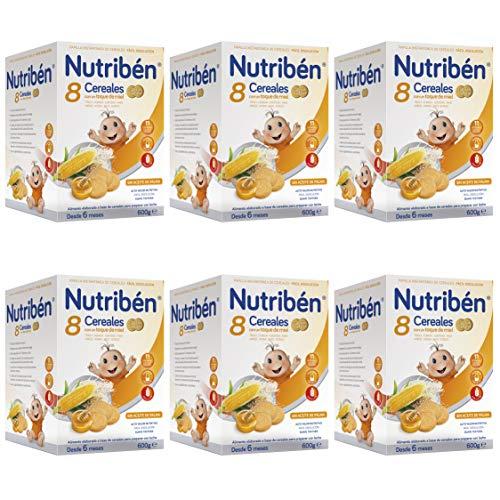 Nutribén Papilla 8 Cereales Con Un Toque De Miel Y Galletas María, Sin aceite de Palma - Alimento Para bebés- Desde Los 6 Meses- Pack De 6 unidades x 600 g