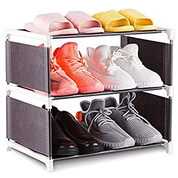 NiHome 3-Tier Shoe Rack Narrow Stackable and Adjustable Lightweight Space Saving Metal Shoe Organizer Fabric Small 6 Pairs Storage Shelf for Closet Hallway Entryway Living Room Bedroom  Brown