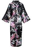BABEYOND Robe Longue Satin Femme Robe de Chambre Paon Femme Longue Kimono Femme Nuit...