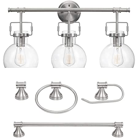 Globe Electric Parker 3-Light Oil Rubbed Bronze 5Piece All-In-One Bath Light Set