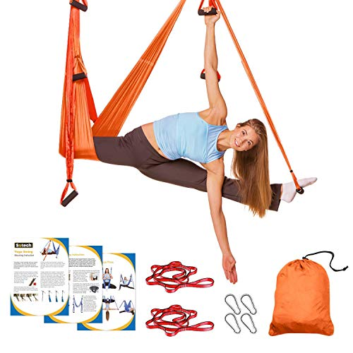 Sotech Aerial Yoga Schaukel Yoga Hängematte Set mit Tragetasche und Verlängerungsgurten, Trapez Sling für Home Gym Anti-Schwerkraft Inversion Pilate Fitness, bis 300KG belastbar, Orange/Rot