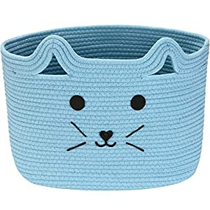 Sea Team Large Cotton Rope Storage Basket with Handles, Woven Storage Bin, Nursery Storage Box, Toys Clothes Organizer, Fabric Pet Storage Basket, Nest for Cat, Dog, 16.5 x 11.8 x 11 inches, Blue