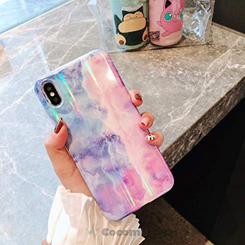 Cocomii Holographic Marble iPhone XR Case, Slim Thin Glossy Soft Flexible TPU Silicone Rubber Gel Shiny Reflective Gradient Fashion Bumper Cover Compatible with Apple iPhone XR 6.1' (Blue/Purple)