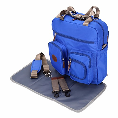 Baby Diaper Bags Backpack Designer for Dads Mom Twins Multi-function Large Tote (Blue)