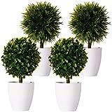 FagusHome 20cm Alto Plantas Artificiales en Maceta 4 Piezas árbol en Forma de Bola en Maceta boj Artificial plástico para decoración
