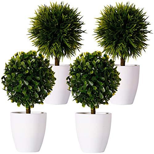 FagusHome 20cm Hoch Künstliche Pflanzen im Topf 4 Stücke künstlichen Buchsbaum Topiary Baum kleinen Kunstpflanzen in weißen Plastiktopf