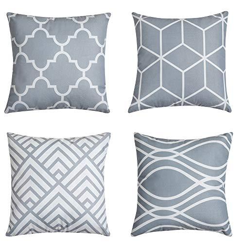 QUALKNOY Juego de 4 fundas de cojín decorativas de 45 x 45 cm, color gris, diseño geométrico, para exterior, para sofá, coche, dormitorio, decoración del hogar, 45 x 45 cm