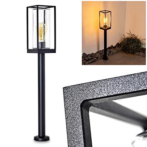 Außenleuchte Palanga, moderne Wegeleuchte aus Metall in Schwarz mit Klarglas-Scheiben, 1-flammig, Stehleuchte 75 cm, Gartenlampe mit E27-Fassung max. 40 Watt, Gartenbeleuchtung IP44, LED geeignet