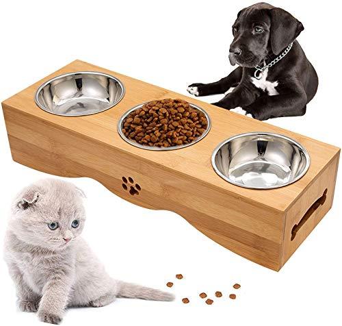 Optyuwah Katzennapf rutschfest Bambus Halter mit 3 Edelstahl Schüsseln Hundenäpf Futternäpfe für Haustier Katzen oder kleine Hunde - 44x15x10cm Katzennäpf Futterschale