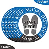 """The social distancing floor decals are designed to remind your customers and employees to keep a safe distance. Perfect for grocery stores, supermarket, hospitals, and anywhere else that a line of people gathers Size: Each floor sign is 11""""/28cm in d..."""