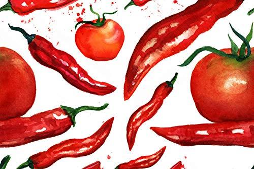 """Küchen Spritzschutz """"Red Chilli and Tomatoes""""   Küchenrückwand   Alu-Dibond   Fliesenschutz für den Herd und Spüle   Küche   Küchenfliesen   Fliesenspiegel   Rückwand, Größe:60 x 40 x 0.3 cm"""