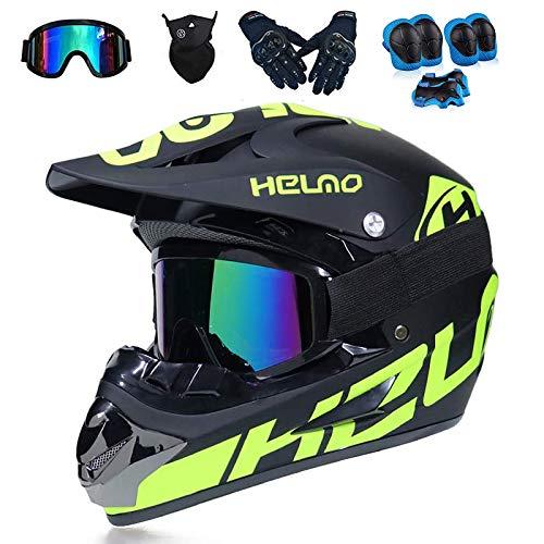 Casco de Motocross Use Guantes, máscaras, Gafas Protectoras, Rodilleras para niños. Casco de Moto Unisex Casco Cruzado Adecuado para Diferentes Grupos de Personas,M