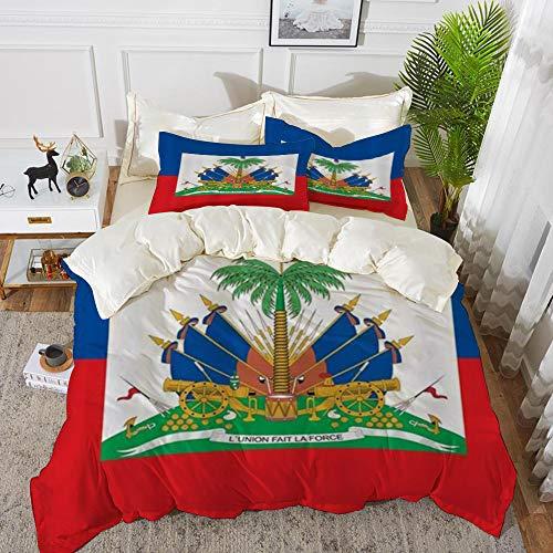 Derun Bettwäsche 3 Teilig Bettgarnitur,Haiti Flagge, Gemütlich Mikrofaser 1 Bettbezug Set 200 x 200 cm + 2 Kissenbezug 50x80 cm
