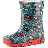 Ladeheid Botas de Agua Zapatos de Seguridad Calzado Unisex Niños Niñas SwkBW 205 (Turquesa Oscuro/Dinosaurios, 21/22 EU)