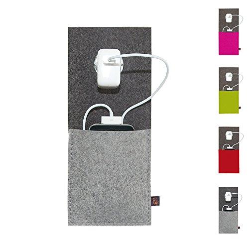 ebos Mobile Ladestation | Ladetasche, Ladehalterung aus 100% Wollfilz | für Handys, Smartphones und Digitalkameras (Grau)