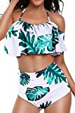 Heat Move Women Retro Flounce High Waisted Bikini Halter Neck Two Piece Swimsuit (White, X-Large)