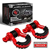 AUTMATCH Shackles 3/4' D Ring Shackle (2 Pack) 41,887Ibs Break Strength with 7/8' Screw Pin and Shackle Isolator & Washers Kit for Tow Strap Winch Off Road Vehicle Recovery Red