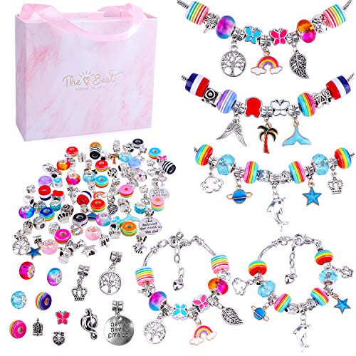 DIY Charm Bracelet Making Kit for Girls, MARQUEEN Jewelry Making Kits with Gift Box, Beads, Jewelry Charms, Bracelets for DIY Craft,Jewelry Gift Set for Girls Teens and Adults