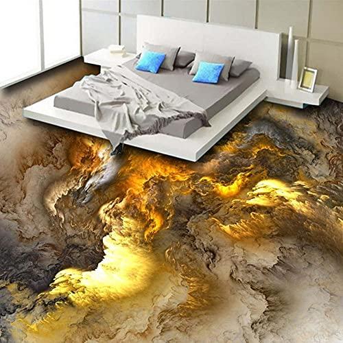 Papel pintado de suelo 3D Personalidad moderna Nubes abstractas Azulejos de suelo 3D Dormitorio Baño PVC Autoadhesivo Impermeable 3 D Mural-300x210cm