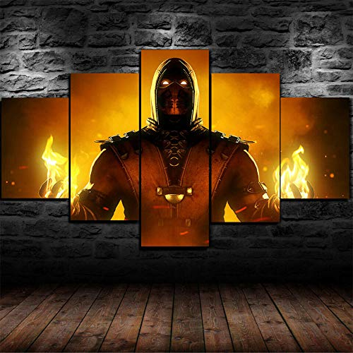 CVBGF Cuadros Decoracion Salon 5 Piezas Arte sobre Lienzo, Escorpión Mortal Kombatmodernos Baratos hogar Oficina Salon Cuadros Decoracion/Talla-W/M150CM-H80CM