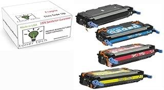 Toner Tech- High Yield Remanufactured OEM Toner Cartridge Replacement Set (Q6470a, Q6471a, Q6472a, Q6473a) for HP 501A/ HP 3600 Set (Complete Set)