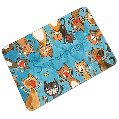 Axe kont kat tapijt mat schattig Meng Lucky kat rubber absorberende antislip deurmat pad Raising hands cat mat-70 * 120cm
