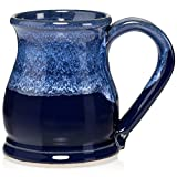 Uncommon Clay 16oz Potbelly Coffee Mug Handmade in the USA (Sapphire Blue/White)