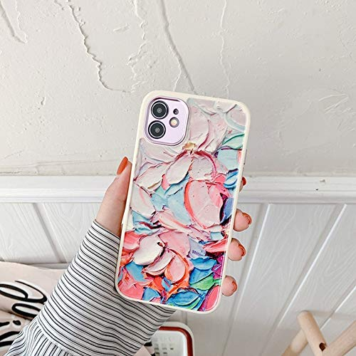 VHR Fundas Cute Love Heart Flower Leaf Phone Case para iPhone 12 11 Pro MAX 12 Mini 8 7 Plus X XS MAX XR Marble Wartercolor Painting Cover para iPhone Se 2020 T12