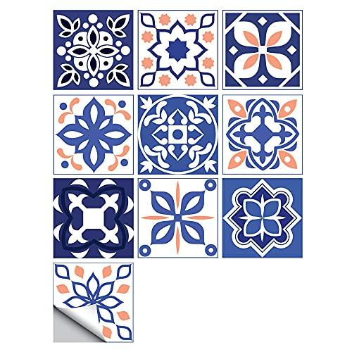 Pegatinas para azulejos Simplicidad impermeables pegatinas de pared, autoadhesivas, retro, cuadradas, para decoración de muebles de cocina, baño, 20 cm x 20 cm x 10 unidades