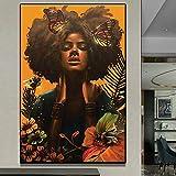 DIY foto personalizada punto de cruz mujer africana con mariposa pintura de diamante completo diamante bordado de diamantes de imitación, sin marco-40X50cm