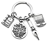 Writer Keychain, Pen Keychain, Book Keychain, Laptop Keychain, Book Lover Keychain, Story Book Charm, Pen Charm, Writer Charm, Laptop Charm, Writer Gift, Gift for Book Lover, Writer Key Ring