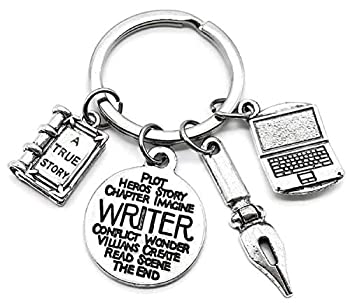 Writer Keychain Pen Keychain Book Keychain Laptop Keychain Book Lover Keychain Story Book Charm Pen Charm Writer Charm Laptop Charm Writer Gift Gift for Book Lover Writer Key Ring