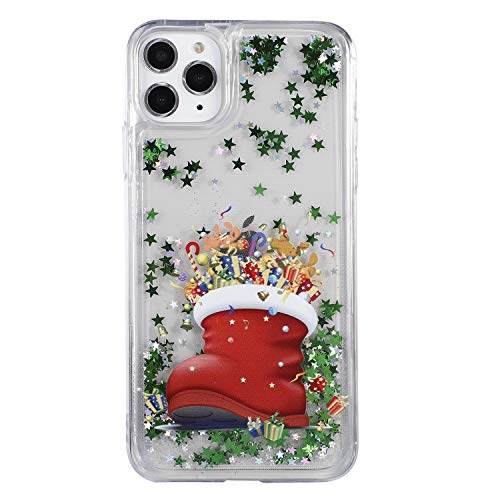 Shukukan iPhone 11 Glitterhoes, iPhone 11 Pro Max 2019 6.5 inch, Christmas Boots
