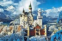 木製パズル1000ピースパズル、城の雪景色、カップル間のゲームpuzzle (50×75 CM)