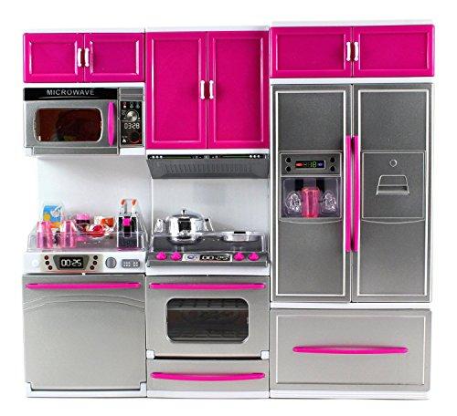 My Modern Kitchen - Kit completo di cucina a batteria con set da gioco, frigorifero, fornello, forno a microonde