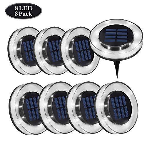 Luces Solar de Tierra Luz 8 LED, WZTO Luces Solares Jardin Impermeable...