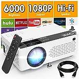 QKK V08 Proiettore 1080P Full HD, Mini Proiettore da 6000 lumen, Proiettore Portatile Compatibile con Chiavetta TV HDMI VGA USB TF AV, Videoproiettore per Home Cinema & Film all'Aperto.
