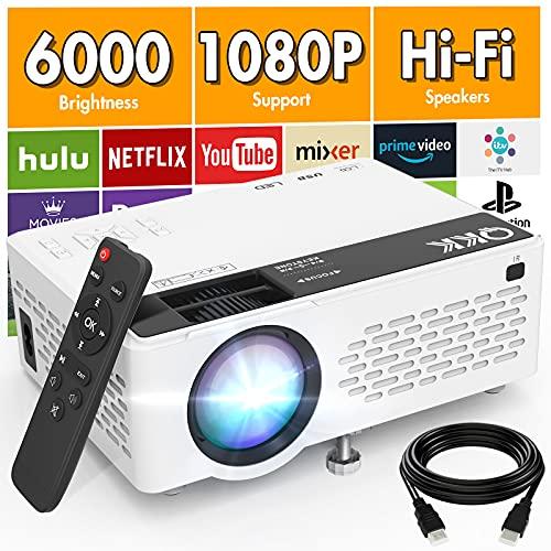 QKK V08 Proiettore 1080P Full HD, Mini Proiettore da 6000 lumen, Proiettore Portatile Compatibile con Chiavetta TV HDMI VGA USB TF AV, Videoproiettore per Home Cinema & Film all Aperto.