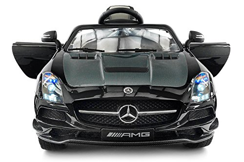 2020 Carbon Black SLS AMG Mercedes Benz Car for Kids, 12V Powered Kids Ride On Car, Leather Seat, LED Lights, Parental Remote, Built-in LCD Touch Screen TV Dashboard, Stroller Seatbelt (Carbon Black)