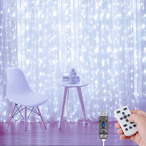 AMBOTHER Lichterkette Vorhang, 3x3M LED Lichtervorhang USB mit Fernbedienung, Weiß 6000K 8 Lichtmodi Dimmbar Timing, IP65 Wasserfest für Außen Deko Hochzeit, 300LEDs mit 10 Haken 12V
