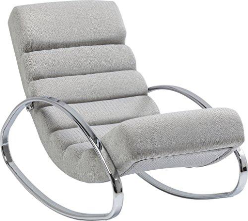 Kare Design Schaukelstuhl Manhattan, Relaxsessel mit Schaukelfunktion, Lounge Sessel mit Fischgrätmuster, Schaukelsesel, Silber-Grau (H/B/T) 81x62x110cm