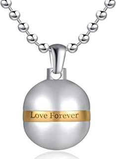 Stainless Steel Ball Perfume Bottle Charm Pendant Necklace for Women Waterproof Never Fade