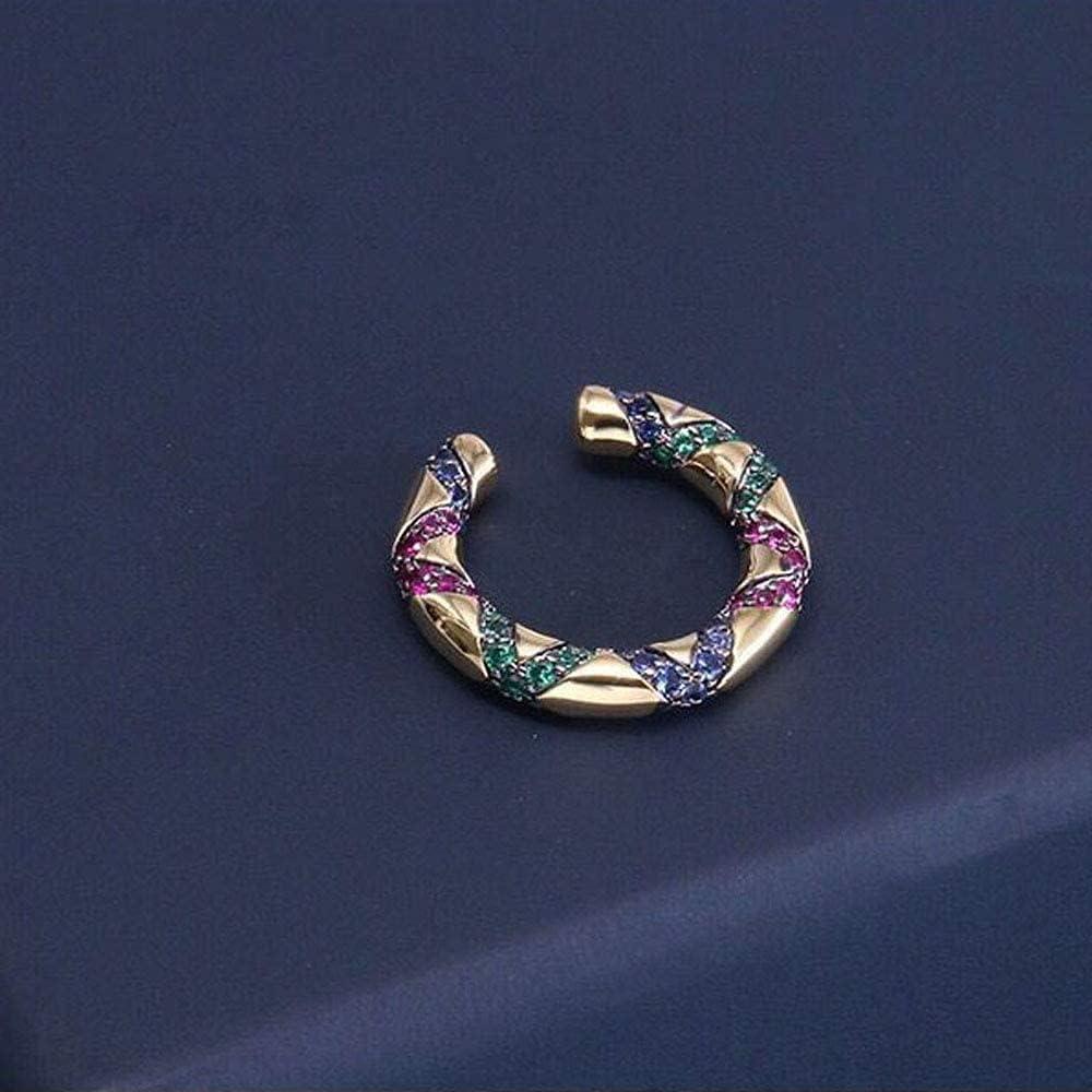 Ghlevo Gift Colorful Stripe Bohemia Ethnic Jewelry Ear Clip Crystal Ear Cuff Clip-on Earrings Rhinestone (Size : A)