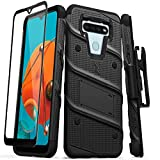 ZIZO Bolt Series for LG K51 / LG Reflect Case with Screen Protector Kickstand Holster Lanyard - Black & Black