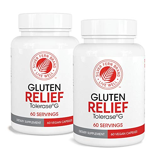 Gluten Relief with Tolerase G - 2 Bottles - 60 Capsules Each - Digestive Enzyme Made Specifically to Break Down and Digest Gluten Protein