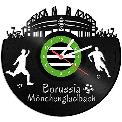 GRAVURZEILE Schallplattenuhr Borussia Mönchengladbach - 100prozent Vereinsliebe - Upcycling Design Wanduhr aus Vinyl Made in Germany