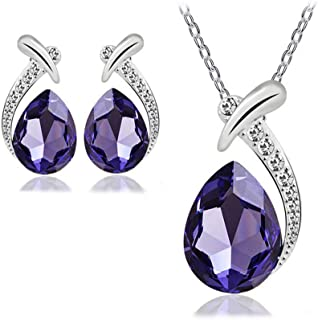 Swarovski Elements Unique Jewelry Set For Women - 18K White Gold Plated Crystal Necklace & Earrings Set - Valentine's Gift
