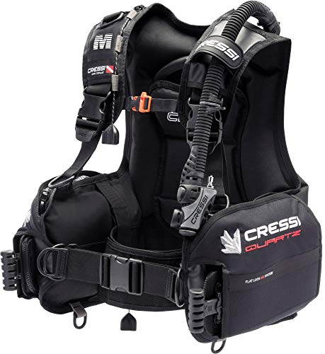 Cressi Quartz BCD Dive Center Edition - Jacket Equilibratore per Immersioni con Sistema Zavorra Integrato Flat Lock, Nero, Adulto Unisex, L