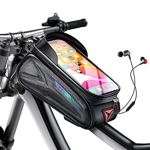 Kriogor Bolsa para cuadro de bicicleta impermeable, con parasol y pantalla táctil de TPU para smartphones de hasta 7 pulgadas (negro)